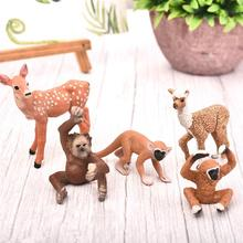 Zoo Farm Simulation Animal Miniature Figurine Model Rabbit Deer Monkey Home Decor Fairy Garden Decoration Accessories Modern