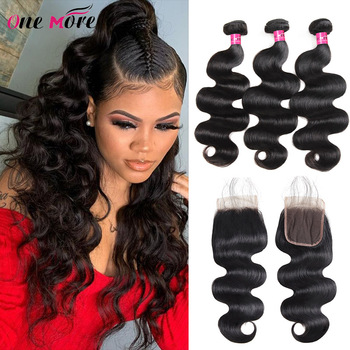 One More Brazilian Body Wave Hair Weave 3 Bundles With Closure Double Weft Remy Human Hair Bundles With Closure