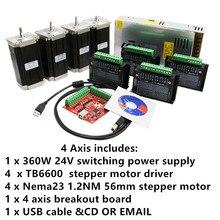 4 оси Nema 23 шаговый двигатель 1.2N 56 мм+ TB6600 Diver 4A+ 350 Вт Питание 24VDC 1 секционная плата и параллельный кабель для 3D ЧПУ