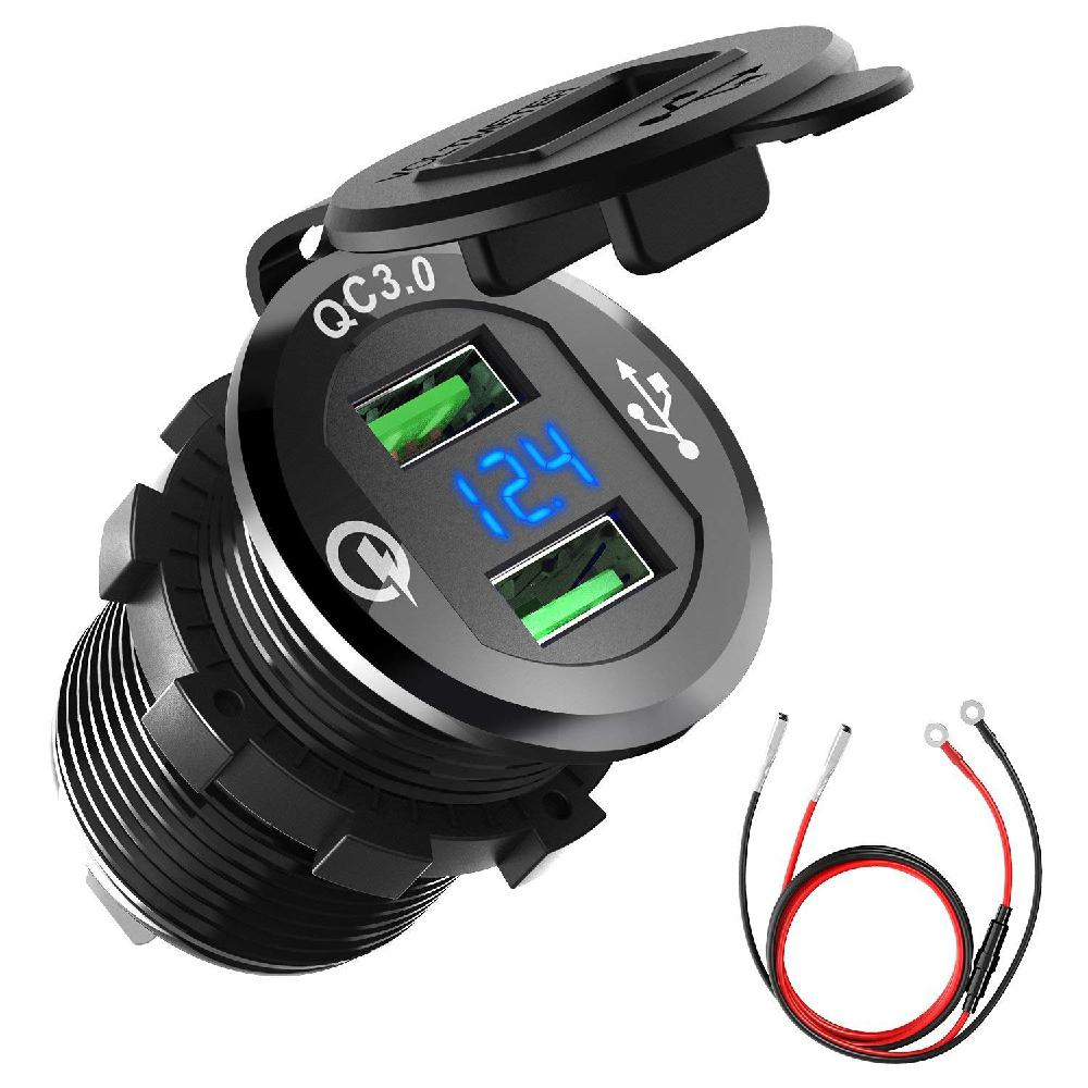 12V 24V Quick Charge 3 0 Dual USB Charger Socket Waterproof Aluminum Power Car Cigarette with LED Voltmeter for Car Boat