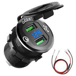 12V/24V Quick Charge 3.0 podwójne gniazdo ładowarki USB wodoodporny aluminiowy papieros samochodowy z woltomierzem LED do łodzi samochodowych Zasilacz    -
