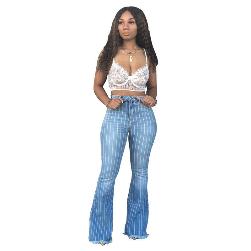 Fashion Striped Denim Flare Jeans Women Vintage Jeans Wide Leg Trousers Ladies Casual Bell Bottom Flare Pant Female Skinny Jeans