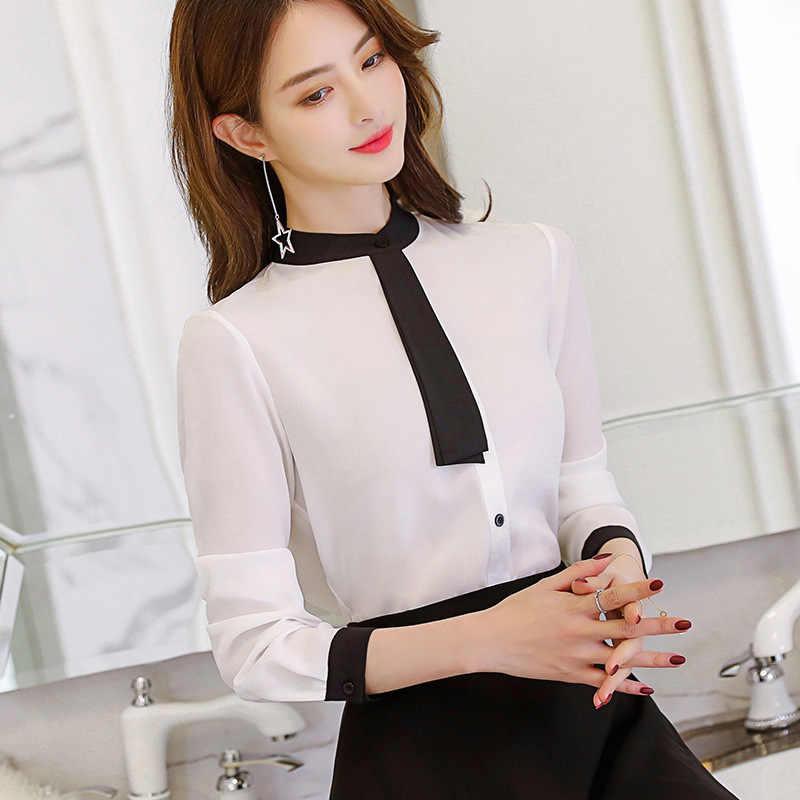 Leisure ทำงานเสื้อฤดูใบไม้ผลิผู้หญิงฤดูใบไม้ร่วงเสื้อแขนยาว Patchwork Tie คอ Slim เสื้อชีฟองสุภาพสตรีเสื้อสีชมพูสีขาว