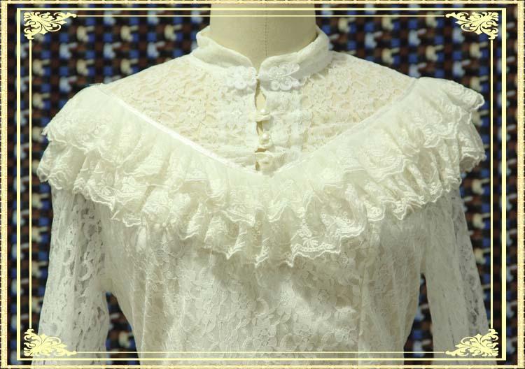 G495017 женская блузка рубашка с кружевом Женская с длинным рукавом весенняя с v образным вырезом характерная блузка рубашка однотонные повсед... - 2