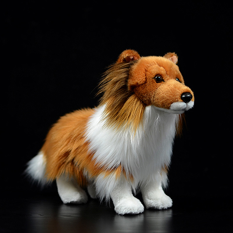 Cute Simulation Collie Stuffed Plush Toy Sheltie Shetland Sheepdog Doll Collie-rough Coated Real Life Animal Model For Kids Gift