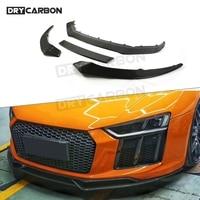 Carbon Fiber Front Bumper Lip Spoiler Splitters Aprons For Audi R8 2015-2018 Head Chin Shovel Protector 4 PCS 1