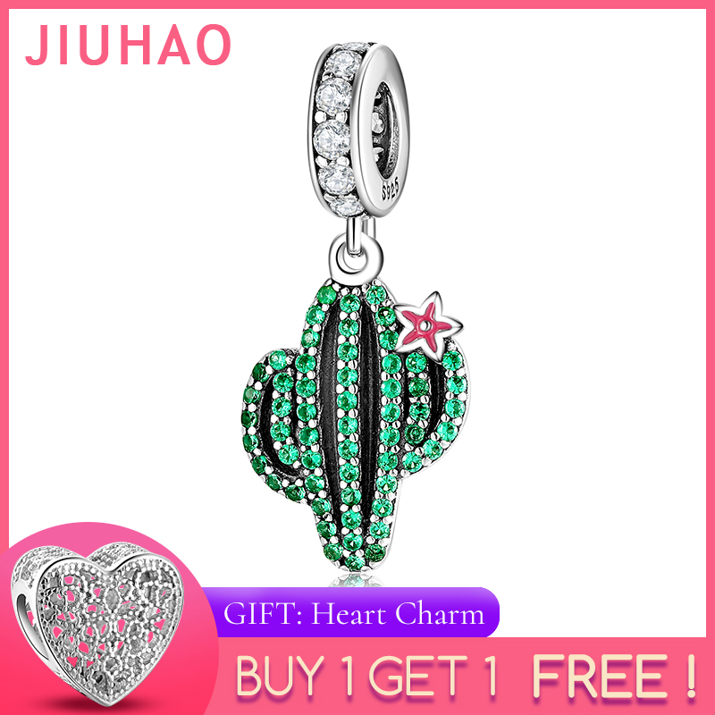925 Sterling Silver Desert Cactus Sparkling Green CZ Charms For Jewelry Making Pendants Fit Original Charm Pandora Bracelets
