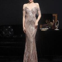 YIDINGZS Women Gold Sequin Party Dress Strap Maxi Dress Sexy V Neck Beading Evening Dress