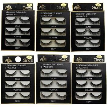 3 Pairs mink false eyelashes natural long 3d mink lashes fluffy wispy fake lashes thick cilios makeup eyelash extension tools 1