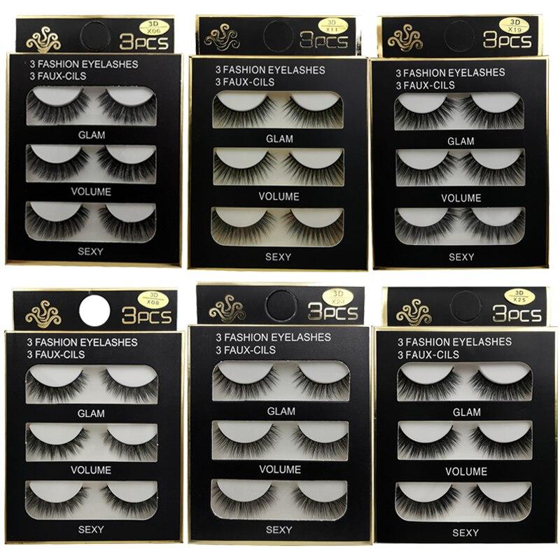 3 Pairs Mink False Eyelashes Natural Long 3d Mink Lashes Fluffy Wispy Fake Lashes Thick Cilios Makeup Eyelash Extension Tools