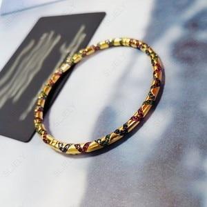 Image 5 - Sljely高品質 925 スターリングシルバー多色ジルコニアクロス部族バングルイエローゴールド色女性マナブレスレットジュエリー