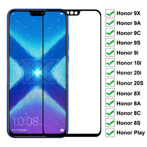 9D Protective Glass For Huawei Honor 8X 8A 8C 8S 9X 9A 9C 9S 9i 10i 20i 20S Play Tempered Screen Protector Safety Glass Film