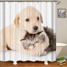 Shower curtain cartoon cute dog cat waterproof fabric lining solid bathroom curtain shower curtain for bathroom halloween cat print waterproof shower curtain