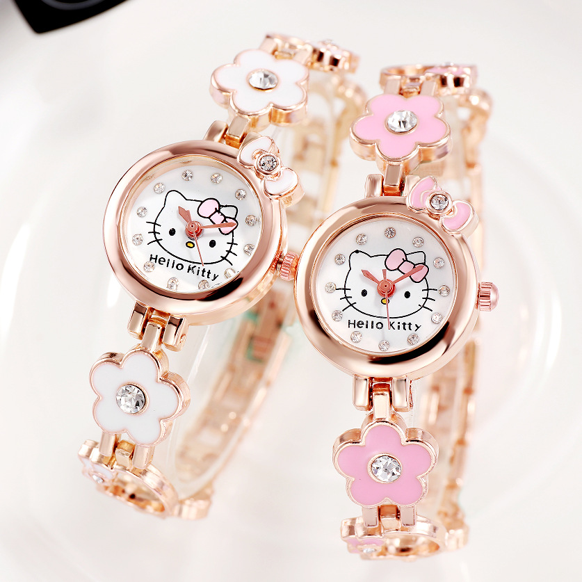 Hello Kitty Watch Girls Kids Watches Stainless Steel Bracelet Quartz Wristwatches Children Watch Montre Enfant Relogio Digital