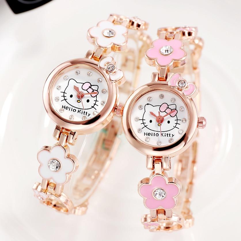 Hello Kitty Watch Girls Kids Watches Stainless Steel Bracelet Quartz Wristwatches Children Watch Montre Enfant Relogio Digital