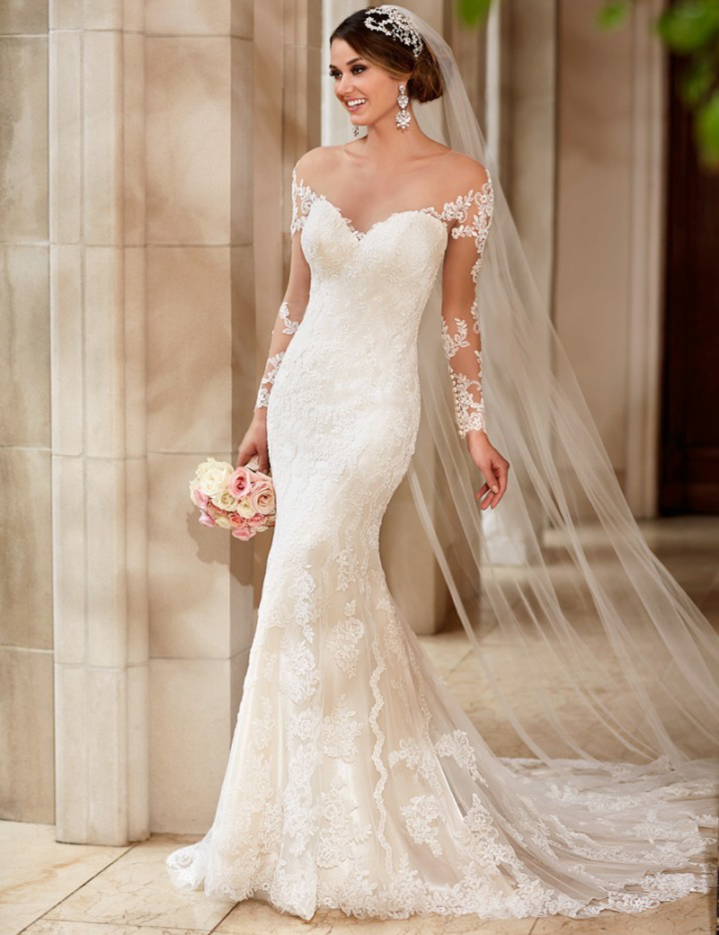 2018 Fashion Off The Shoulder Sweetheart Lace Appliques Bridal Gown Long Sleeves Vestido De Noiva Mother Of The Bride Dresses