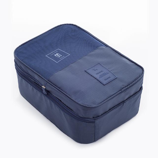 Shoe Storage Bag Travel Shoe Bra Lingerie Drawstring Bag Pouch Organizer Dark blue 32x42cm