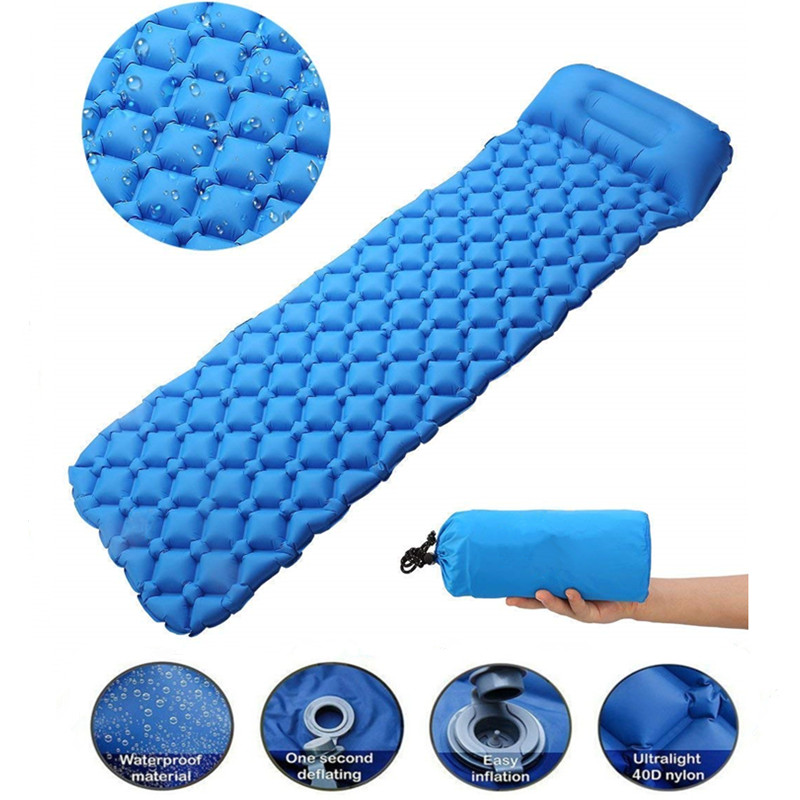 Outdoor Inflatable Sleeping Pad Inflatable Air Cushion Camping Mat With Pillow Air Mattress Sleeping Cushion Inflatable Sofa