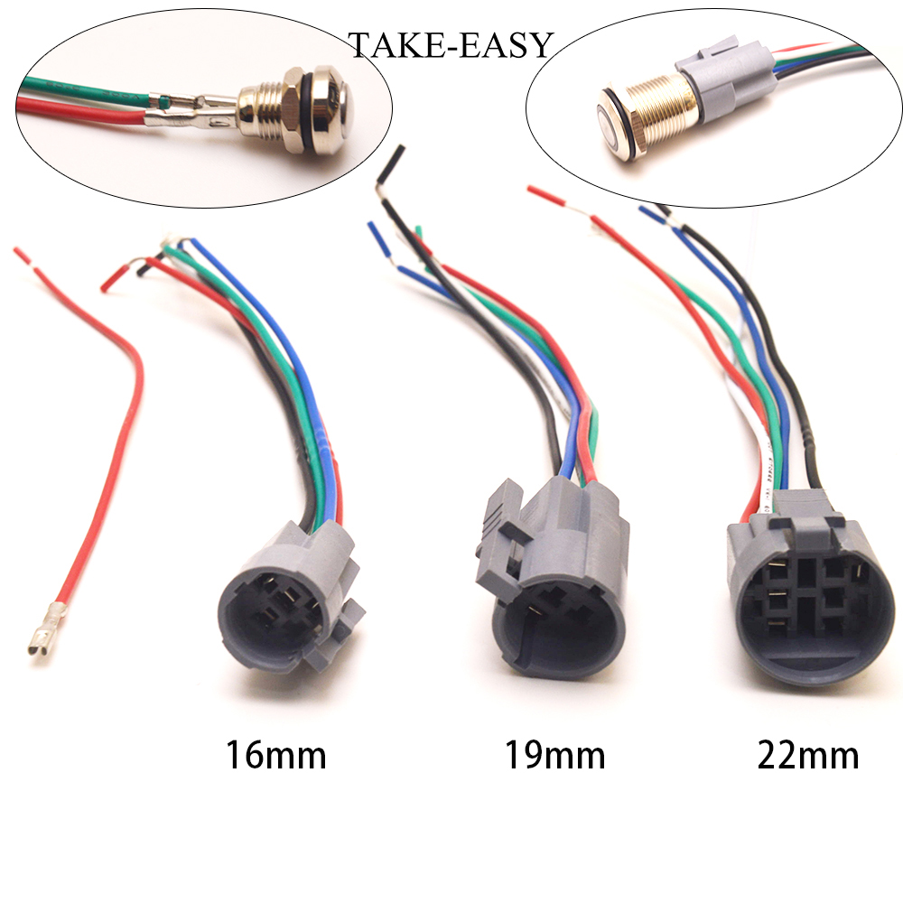 TAKE-EASY Led Light Momentary Push Button Switch Connector 8/10/12/16/19/22 Mm Switches Plug Cable Quick Connect Wire Holder