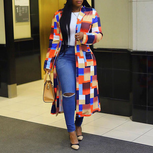 Color Block Plaid Long Trench