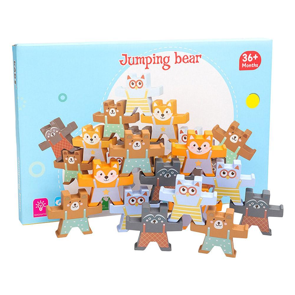 Building Blocks Toy Set Wooden Bear Stacking Games Interlock Balancing Blocks Games Toddler Educational Toys For Kids
