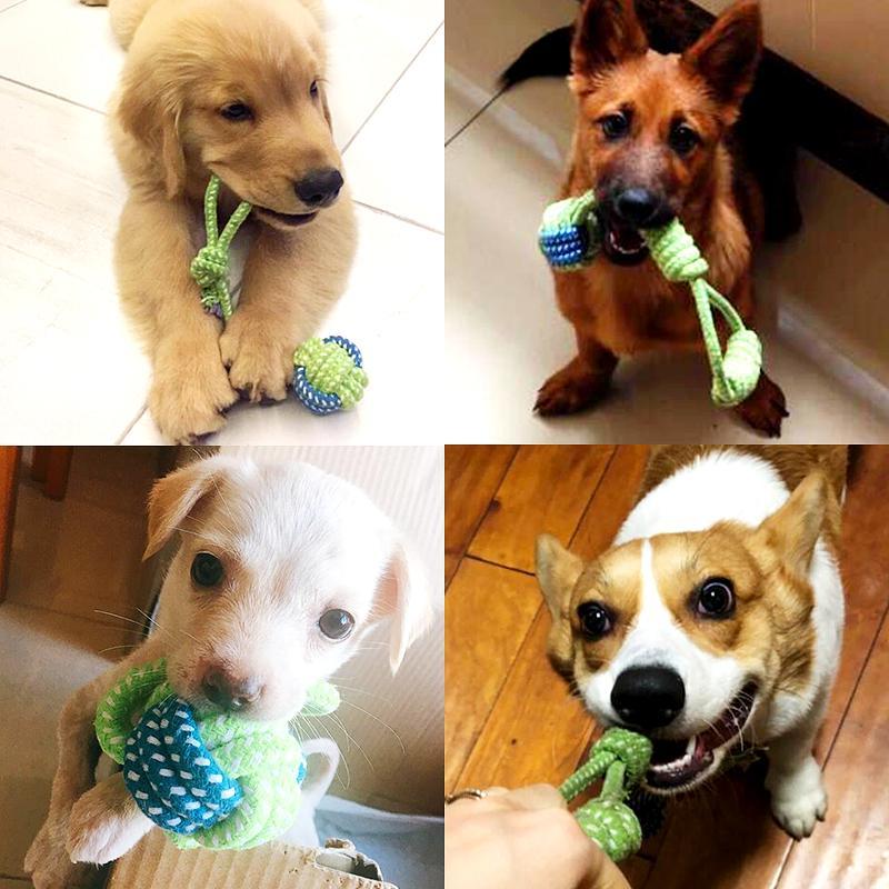 7 видов игрушек для домашних животных, собак, хлопковый мяч для щенков, жевательная игрушка, моляр для чистки зубов, зеленая веревка, прочная плетеная веревка, Забавный инструмент для тренировок на открытом воздухе-5