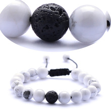 2019 New Hot Natural Stone Bracelets Jewelry Hand String White Pine Grind Black Agates Fashion Woven Bracelet for Wome Men