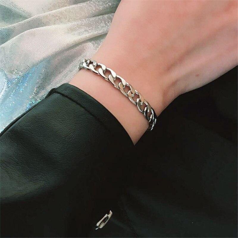 Cool Cuban Brake Chain Men's Bracelet Stainless Steel Hip-hop Jewelry Women Men Punk Rock Hand Link Steel Pulsera Hombre