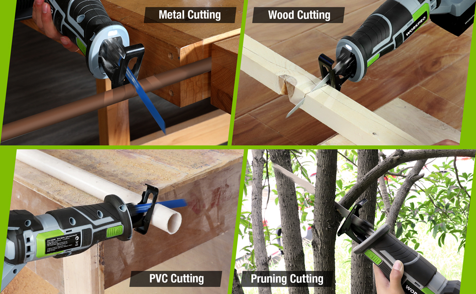 WORKPRO 20V Cordless Reciprocating Saw Metal and wood Cutting