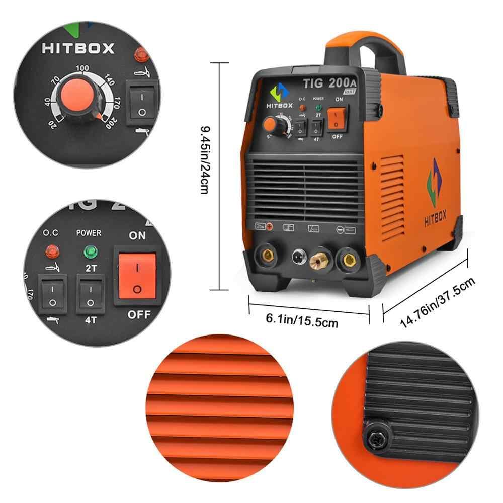 HITBOX TIGเครื่องเชื่อมWSEดิจิตอลควบคุมแก๊สTIGสแตนเลสเหล็กHBT2000 TIG200A TIG Series Dualแรงดันไฟฟ้าที่มีประสิทธิภาพแก๊สTIG