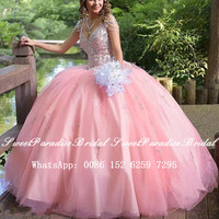100% Real Photos Pink Quinceanera Dresses With Beads Crystal Tassels Sleeves Ball Gown Pageant Dress Prom Vestidos De 15 Anos