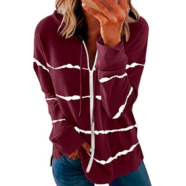 40#Womens Hoodie Striped Full Zipper Long Sleeve Lightweight Sweatshirts Spring Elegant Pullover Tee Tops толстовка женская 1