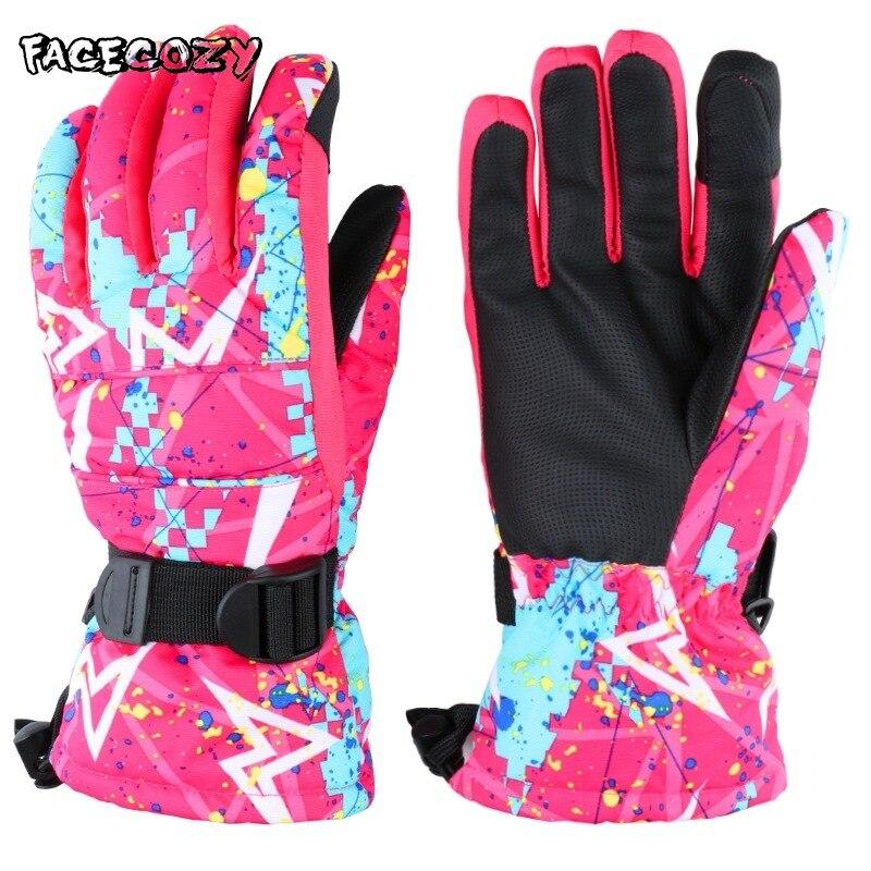 Facecozy Winter Warm Ski Fleece Waterproof Gloves Men Women Touch Screen Outdoor Sport Snowboard Snowmobile for Hiking