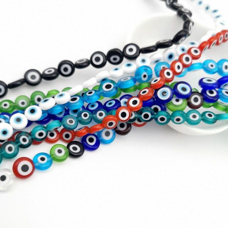 Cuentas de ojo malvado redondas, Multicolor, de 6/8/10mm, cuentas de cristal esmaltadas para pulsera, collar, fabricación de joyas DIY