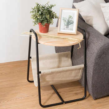 Modern Metal Round End Table Sofa Side Table with Storage Basket Wooden Tea Fruit Coffee Table for Home Living Room Bed Side