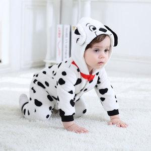 Image 5 - Umorden Baby Dalmatians Spotty Dog Costume Kigurumi Cartoon Animal Rompers Infant Toddler Jumpsuit Flannel Halloween Fancy Dress