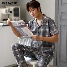 Мужчины% 27 100% 25 Хлопок Пижама Лето Тонкий Дышащий Пижамы Костюм Повседневный Стрейч Плед Пижама комплекты Удобный Плюс Размер Пижама 3XL