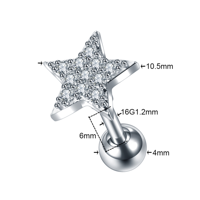 1PC Cz Star Flower Cartilage Stud Helix Rook Conch Screw Back Earring fashion
