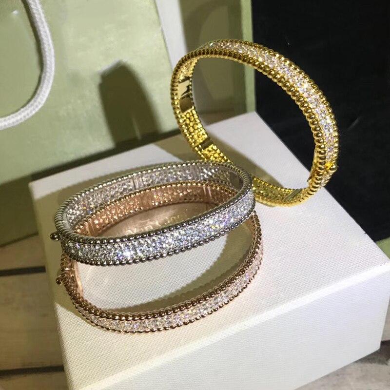Marque Pure 925 bijoux en argent pour les femmes couleur or pleine pierre bracelet en or Rose trèfle bracelet bijoux de mariage autour de perles bracelet - 6