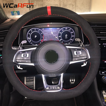 WCaRFun Black Suede Red Marker Car Steering Wheel Cover for Volkswagen Golf 7 GTI Golf R MK7 VW Polo GTI Scirocco 2015 2016 цена 2017
