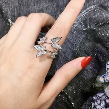 Tiny Trendy Cubic Zirconia Butterfly Rings Luxury Cz Stone Insect Adjustable Rings For Women Girls Fashion Jewelry 2019