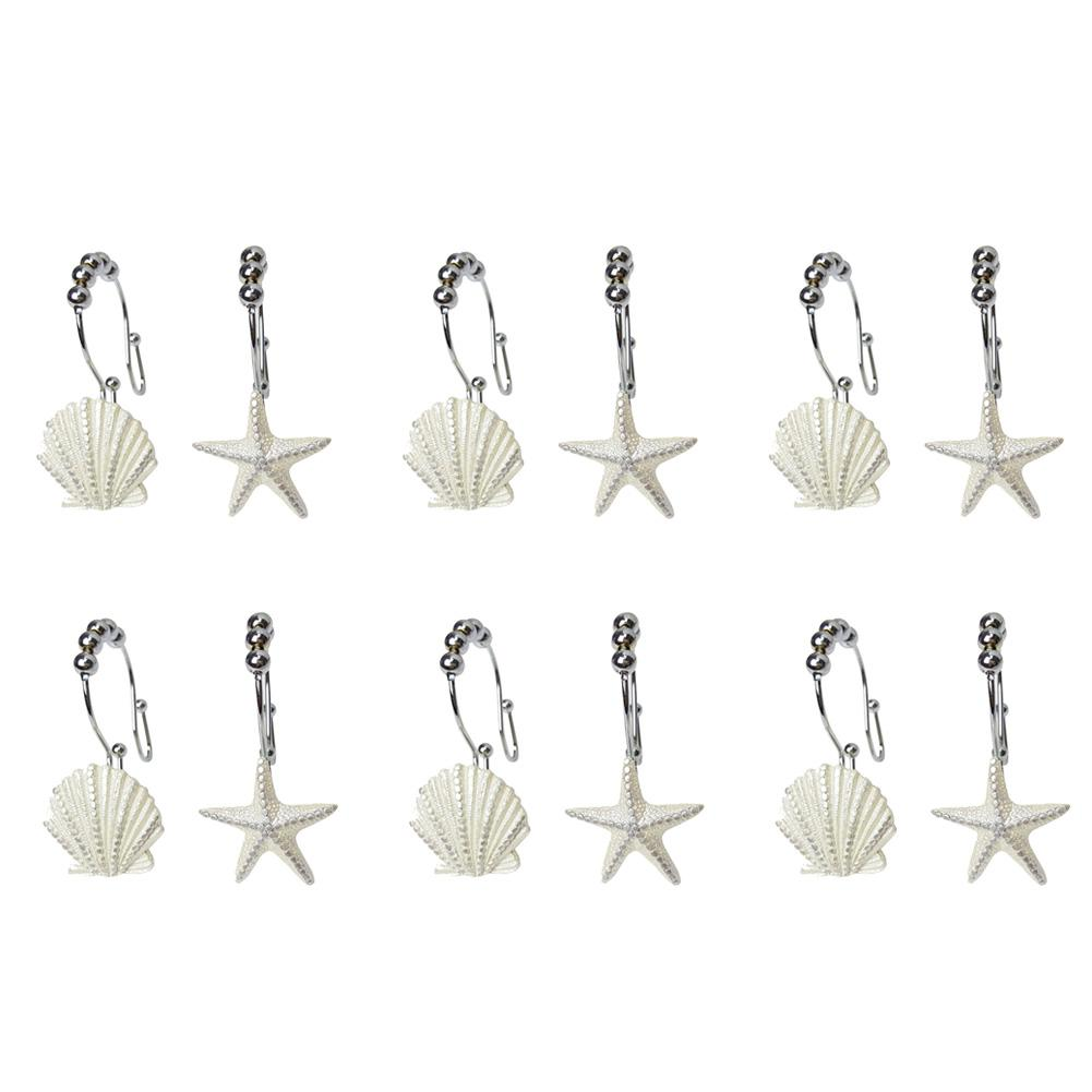 12PCS/lot Stainless Steel Shower Curtain Double Hook White Starfish Shell Shape Mixed Resin Double Hook For Bathroom Curtain