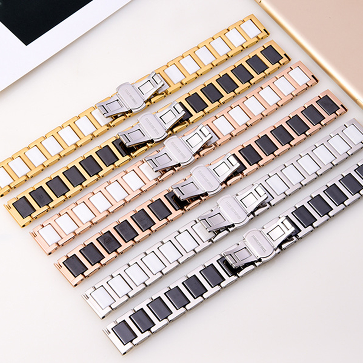 2019 Universal Ceramic Steel Watch Band Replacement Strap Bracelet With Metal Buckle Clasp 20mm For Wrist Girth 5.5-8.1inch