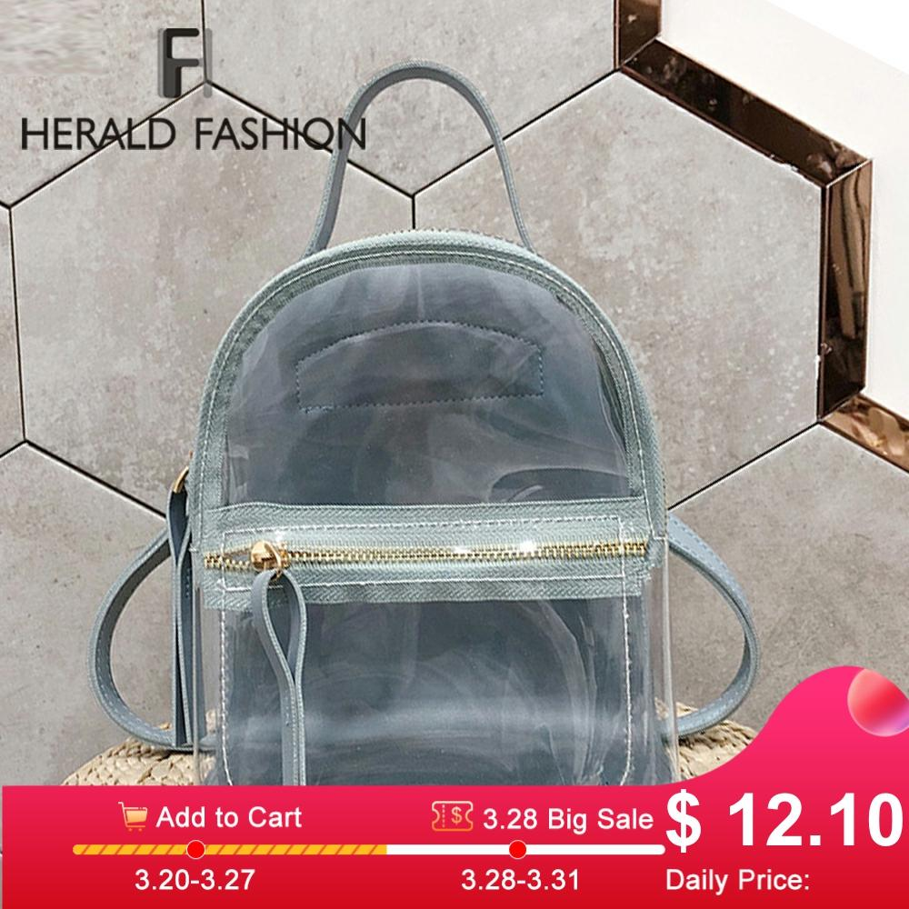 Transparent Pvc Backpack Couple Models Teen Girls Candy Color Jelly Bags Bookbag Backpack Crystal Large Capacity Travel Pack