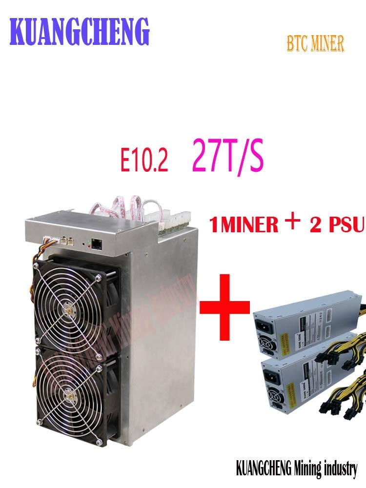Nouveau Btc BCH Mineur L'ebit E10.2 27T SHA256 Asic Avec PSU mieux que E10.3 Antminer S9k S9j T9 + S11 T15 Z9 WhatsMiner M3 M3X T2T T3