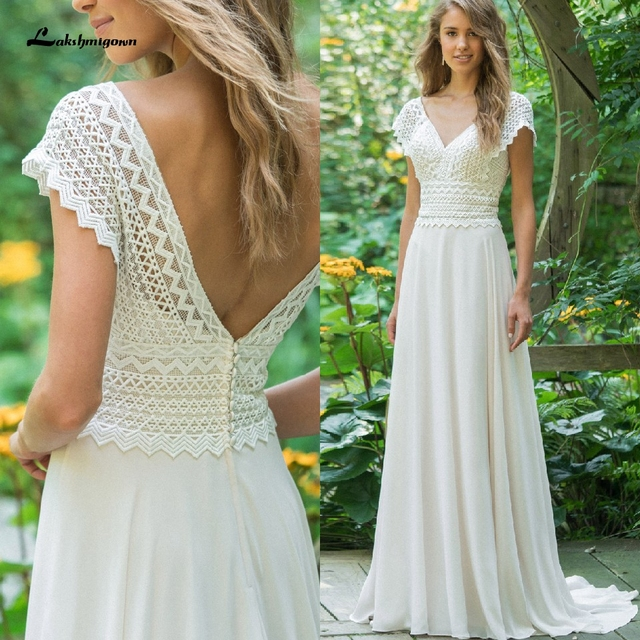 Sexy V Neck Chiffon Beach Wedding Dresses 2021 Lace Court Train Bridal Gowns Plus Size vestido de bodas Open Back vestido 1