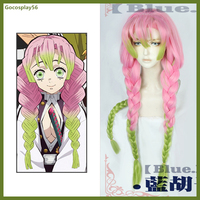 Demon Slayer Kanroji Mitsuri Cosplay Wig Kimetsu no Yaiba Thick Three Braids Ponytail Gradient Pink Green Hair Halloween