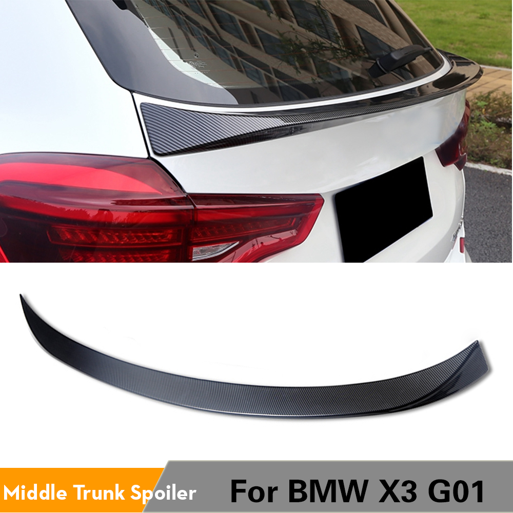 Rear Roof Spoiler Boot Lip Wing For <font><b>BMW</b></font> <font><b>X3</b></font> <font><b>G01</b></font> <font><b>2018</b></font> - 2020 Rear Spoiler ABS Glossy Black Carbon Look image
