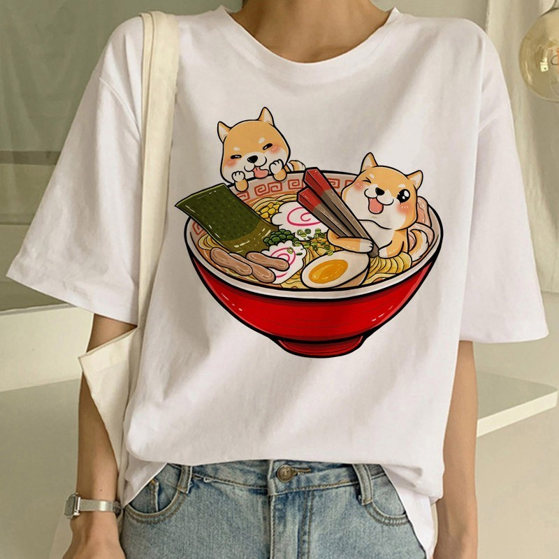 Vogue Shiba Inu Tshirt White Shirt Harajuku Kawaii Shirt Funny T Shirts Women Streetwear Graphic Tops Tee