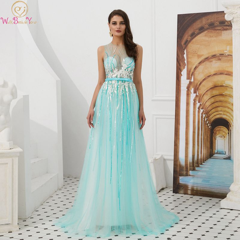 Light Blue Girls Prom Dresses 2019 Fairy O-Neck Sleeveless Illusion Long Sequin Vestidos De Gala Shiny Formal Party Evening Gown